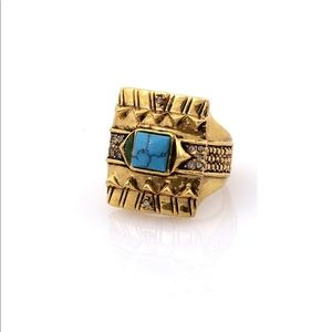 House of Harlow Cushion Square Ring in Turquoise